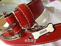New Coach Red Pebbled Leather Dog Pet Collar L D Ring