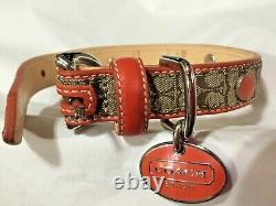 New Coach Signature Orange Grommets Extra Small Leather Dog Pet Collar Xs