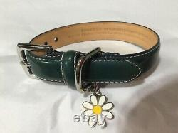 New Coach Teal Patent Flower Extra Small Leather Dog Pet Collar Xs