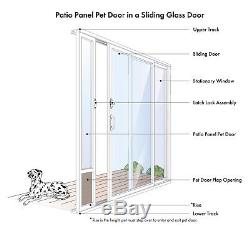 PET DOOR for PATIO SLIDING GLASS DOORS Large Doggy Cat Entry Flap Adjustable