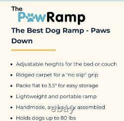 PawRamp Dog Ramp 4 Adjustable Heights Bed/Couch Pet Ramp 40 Folds Flat