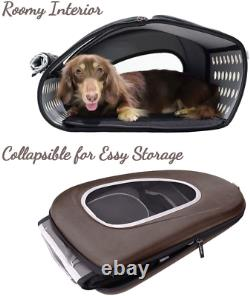 Pet Carrier Dog Cat Rolling Luggage 4-In-1 Sturdy Mesh Window With Zippers Brown