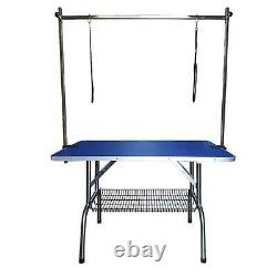 Pet Dog Grooming Table Folding Bath Height Top Non Slip 2 Safety Arm Adjustable
