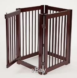 Pet Gates Extra Wide Wood With Door Free Standing Tall Adjustable Dog Pet Safety
