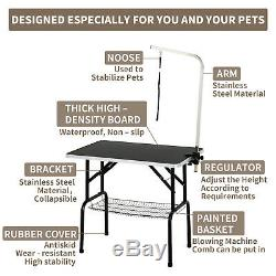 Portable Adjustable Noose Table Cat Dog Pet Folding Grooming Arm with Mesh Tray