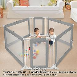 Portable Room Divider with Safety Gate Wide Opening for Infant Kids Baby Pet Dog