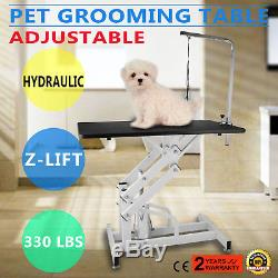 Professional Pet Dog Z-Lift Hydraulic Grooming Table withArm Noose Rubber 42.5