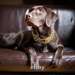 Rhinestone Large Pet Dog Chain Collar Heavy Duty Stainless Steel Choker Necklace