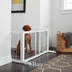 Richell Freestanding Wood Adjustable Pet Gate White Home New