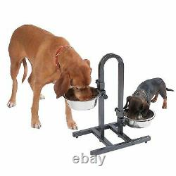 Stainless Steel U Shaped Dog Bowl Stand Adjustable Height Feeder Container Pet