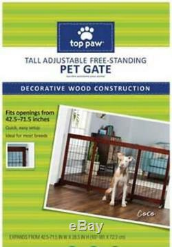 Top Paw Adjustable Tall Free Standing Wood Pet Gate Dog Puppy 42-71 READ