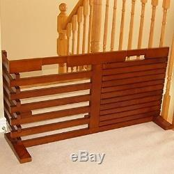 Tri Fold Pet Gate Dog Solid Wood Indoor Adjustable Free Standing 360 degree XL S
