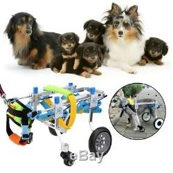US Dog Pet Wheelchair Adjustable Hind-Leg Handicapped Recovery Cart Ligthweight