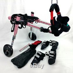 Walkin' Wheels Folding Wheelchair for Small Pets Dogs 5-25 lbs Pink Adjustable
