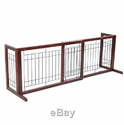 Wood Dog Gate Pet Fence Playpen Adjustable Indoor Free Stand Safety Solid Wooden
