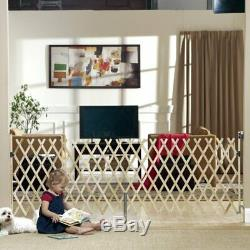 Wood Expansion Pet Gate Dog Baby Toddler Wall Mounted Fence Barrier Tall Wide