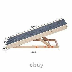 Wooden Adjustable Pet Ramp Bed Ramp for Dogs and Cat Foldable Portable
